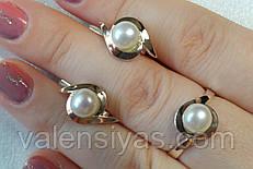Набор серебряных украшений с жемчугом