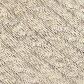 Плед вязаный SOFT косы латте 140*180см (50%акрил 50%шерсть), фото 2