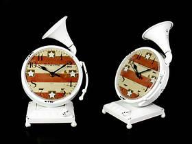 Часы Антик (27х17х12,5 см) Металл. Граммофон. Белый