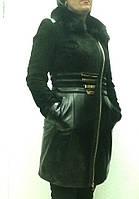 Плащ кожаный женский черный Armani