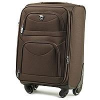 Большой тканевый чемодан Wings 6802 на 4 колесах коричневый