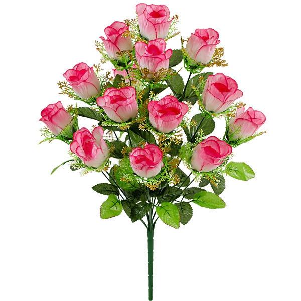 Букет искусственной розы бутон с золотой юбкой, 57см (6 шт. в уп)