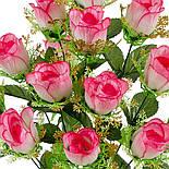 Букет искусственной розы бутон с золотой юбкой, 57см (6 шт. в уп), фото 2