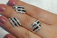 Комплект серебряных украшений - кольцо и сережки