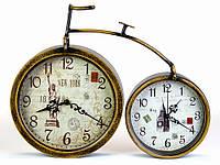 Часы Ретро (36x28x4,5 см) Металл. Вело Пенни-Фартинг. 2 часов. Тихий Ход. Медный Винтаж