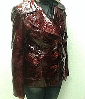 Куртка-пиджак кожаная женская лаковая бордо , фото 1