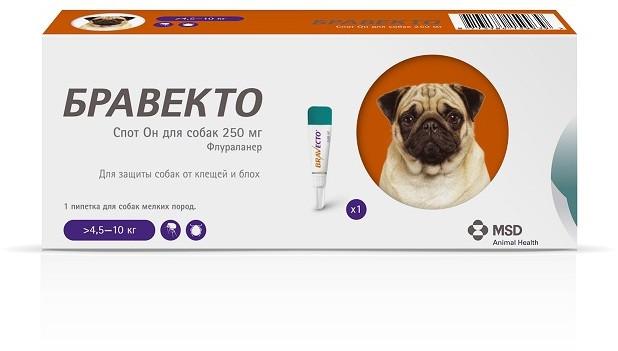 Краплі Braveсto Бравекто Спот-Він для собак від бліх та кліщів на вагу собаки 4,5-10 кг 1піп (250 мг