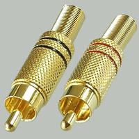 Штекер RCA под кабель с пружиной gold, диам.- 6,5мм., корпус металл