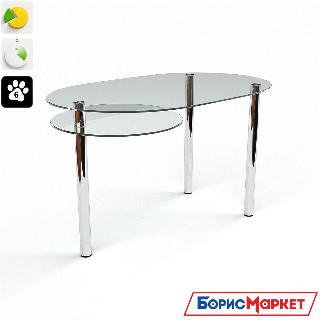 Обеденный стол стеклянный фигурный на хромированных ножках Диалог от БЦ-Стол