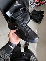 Мужские кроссовки Philipp Plein 1 черные (Реплика)