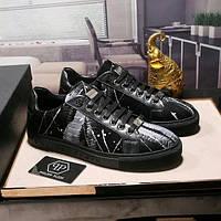Мужские кроссовки Philipp Plein 3 черные (Реплика)