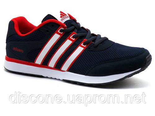Кроссовки мужские летние Adidas Adizero, сетка/ нубук, темно-синие/ красные/ белые