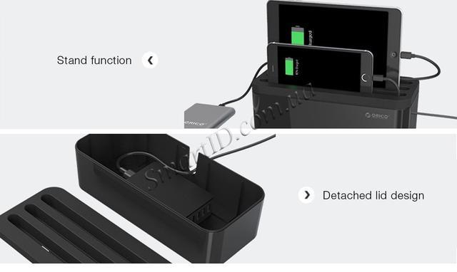 Универсальный органайзер для кабелей Orico Storage Box Organizer с функцией подставки для гаджетов PB1028 (Черный)