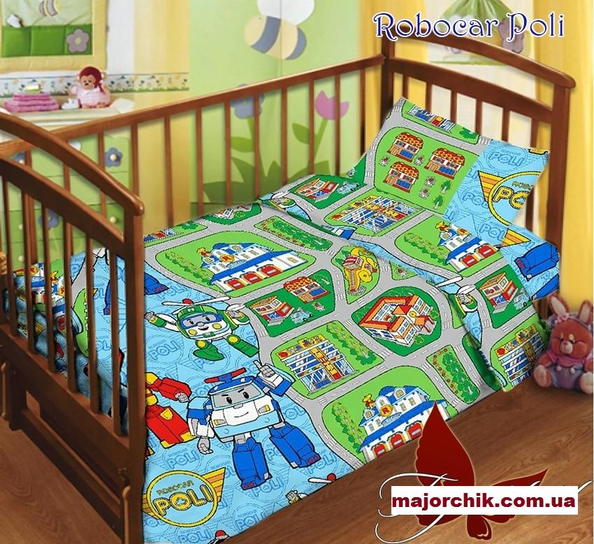 Детский комплект постельного белья Поли Робокар 110х140