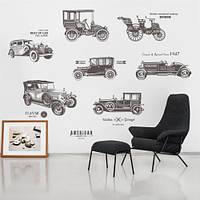 """Интерьерная наклейка на стену """"Старинные автомобили ZYPA 903 N"""""""