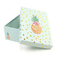 Мятная подарочная коробка Ананасик 17 x 10.5 x 6 см, фото 1