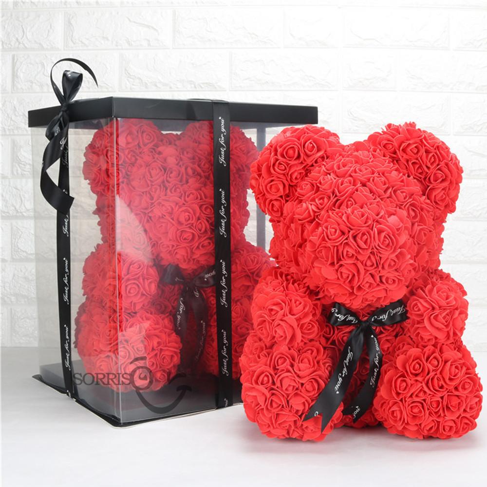 Подарочная коробка для Мишки из 3D  роз