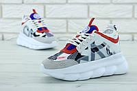 Кроссовки женские Versace Chain Reaction Sneakers реплика ААА+ (нат. замша/кожа) р. 36-41 белый (живые фото)