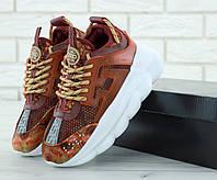 Кроссовки женские Versace Chain Reaction Sneakers реплика ААА+ (нат. замша/кожа) р. 38 орнанж (живые фото), фото 1
