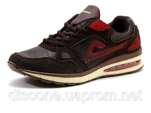 Кроссовки Demax (Air Max) мужские, кожа/ замша, коричневые/ красные
