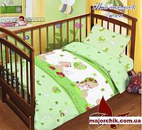 Детский комплект постельного белья Мой ангелочек Мишка Тедди зел 110х140, фото 1