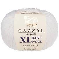 Пряжа из мериноса Gazzal Baby wool XL 801 белый (Газзал Бeби вул ХЛ)