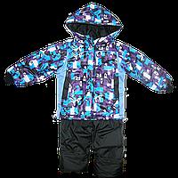 Детский весенний, осенний комбинезон (штаны на шлейках и куртка) на флисе и холлофайбере, р.104