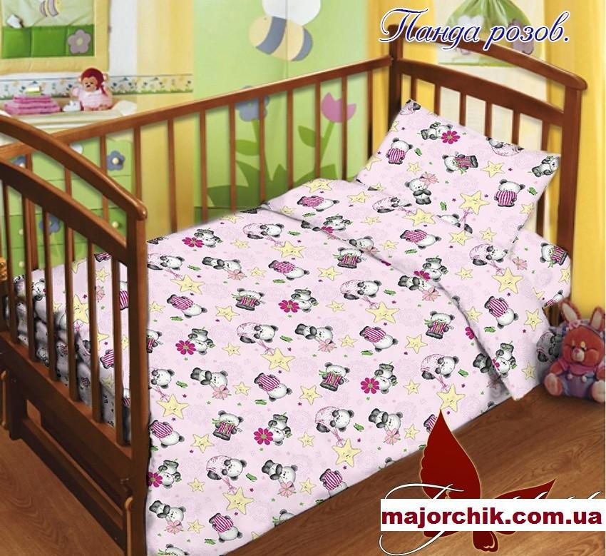 Детский комплект постельного белья Пандочка розов 110х140
