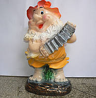 Фигурка для сада Гном с баяном полистоун 50 см.