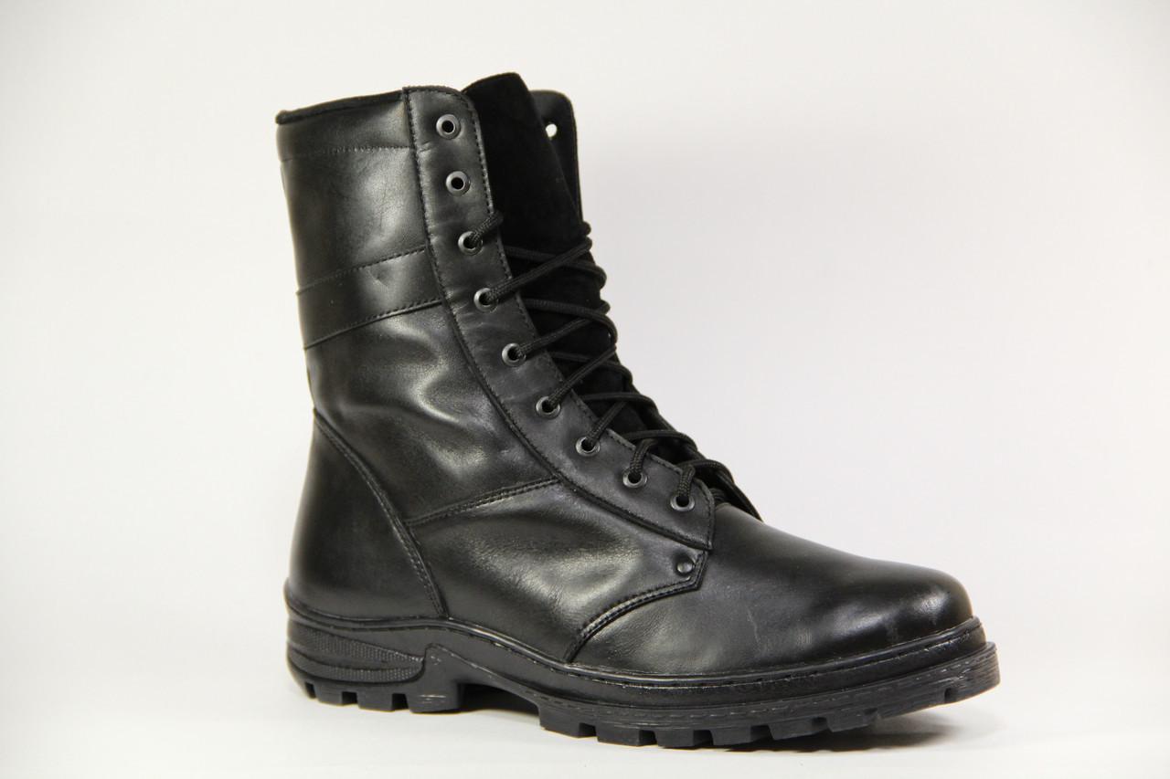 Ботинки берцы зимние из натуральной кожи и меха черная кожа Профессионал зима