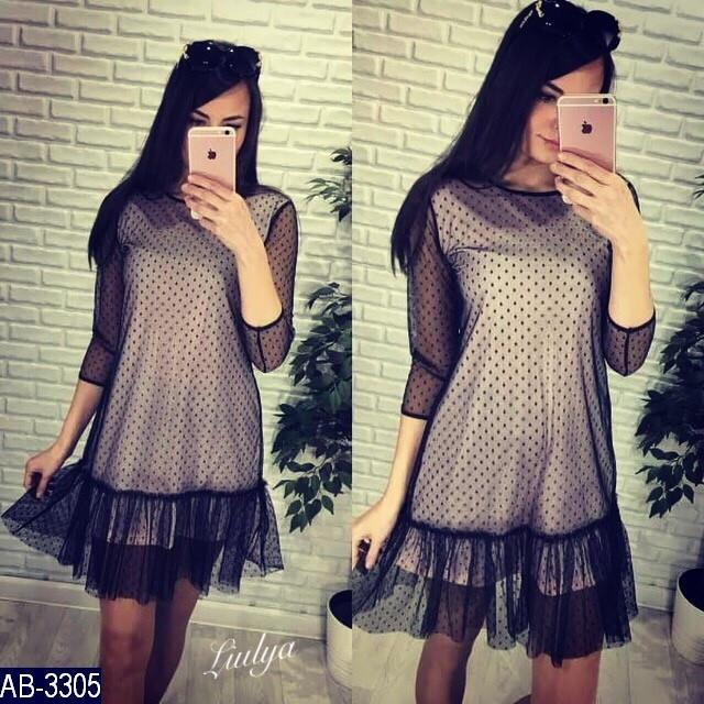 Платье Женское Размер: 42-46 фабричный китай ткань -сетка в горошек -вискоза