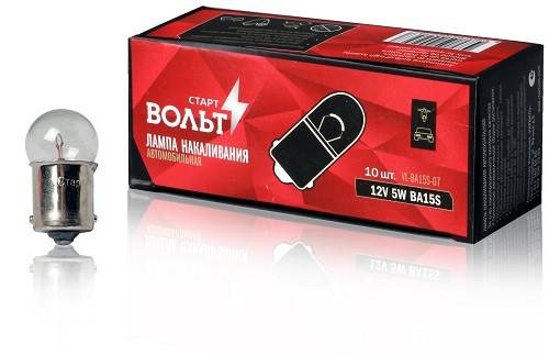 Лампа 12V 5W (цоколь) BA15S (VL-BA15S-07) (кратно 10) СтартВольт