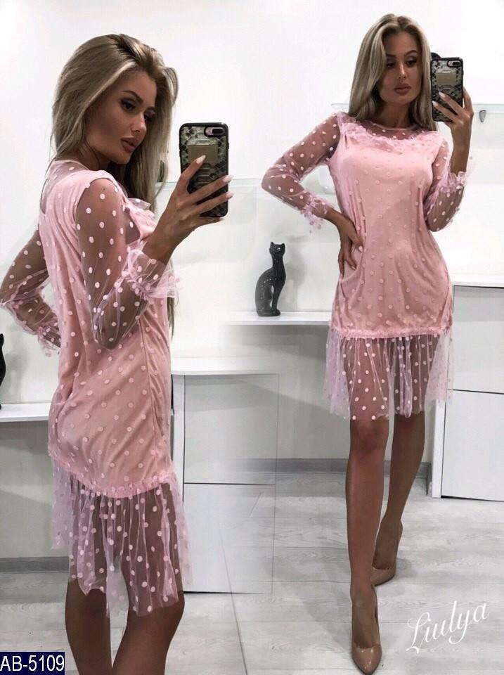 b7620f25d4d Платье Женское Размер  42-46 фабричный китай ткань -трикотаж-сетка в горошек  цвета чёрный и розовый