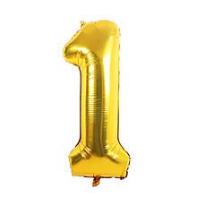 Надувная цифра 1,  80 см. золото,  80 см. золото, шарик фольгированный, шары для праздника день рождения