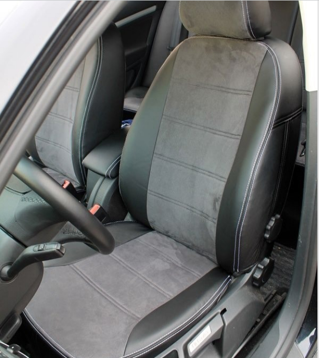 Чехлы на сиденья Мерседес W202 (Mercedes W202) (модельные, экокожа Аригон+Алькантара, отдельный подголовник)
