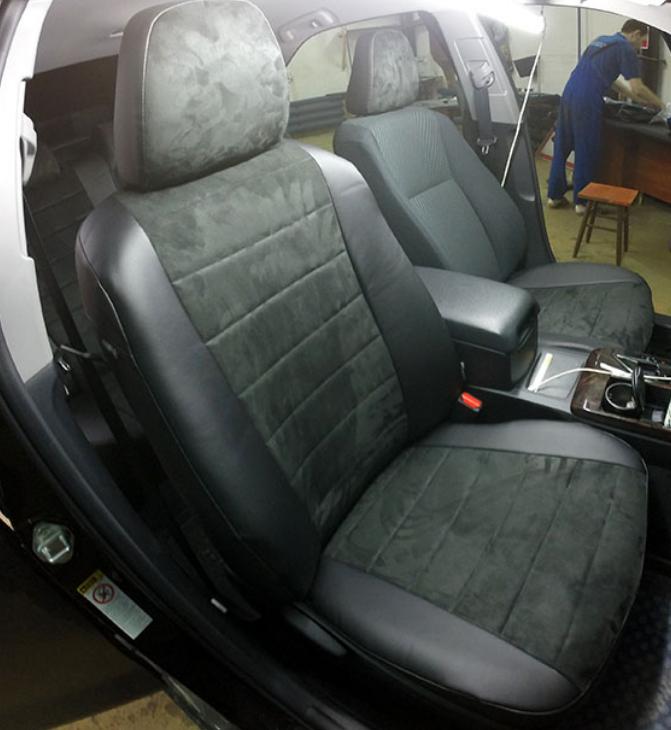 Чехлы на сиденья Мерседес Вито (Mercedes Vito) 1+1  (модельные, экокожа+Алькантара, отдельный подголовник)