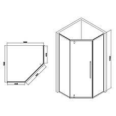 A LÁNY Душевая кабина пятиугольная, реверсивная, 1000*1000*1950 (стекла+двери), двери распашные, стекло прозрачное  6 мм, профиль черный, фото 3