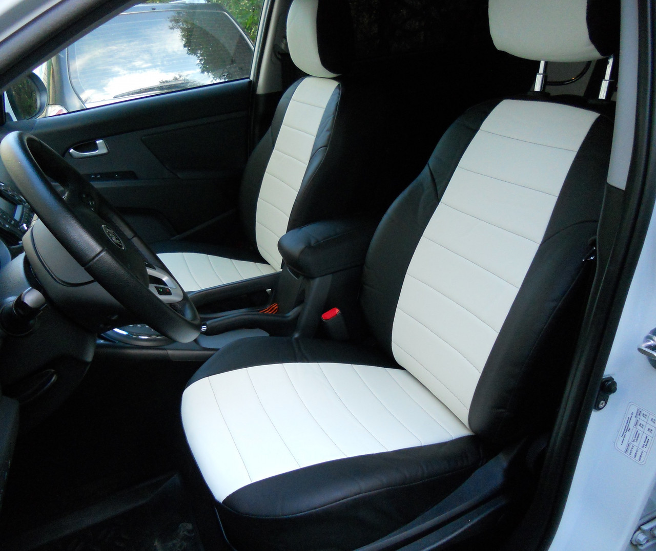 Чохли на сидіння Мітсубісі Аутлендер ХЛ (Mitsubishi Outlander XL) (універсальні, кожзам, з окремим