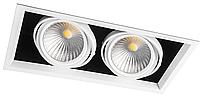 Карданный светодиодный светильник 30Вт 4000K AL212 2хCOB белая рамка, фото 1