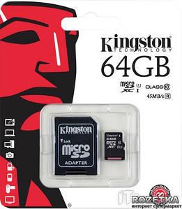 Карта памяті Kingston 64GB microSDXC Class 10 UHS-I (SDCS/64GB)