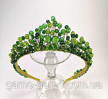 Корона зеленая хрустальная изумрудного цвета тиара диадема