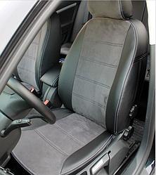 Чехлы на сиденья Ниссан Тиида (Nissan Tiida) (модельные, экокожа Аригон+Алькантара, отдельный подголовник)