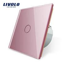 Сенсорный выключатель Livolo, цвет розовый, стекло (VL-C701-17)