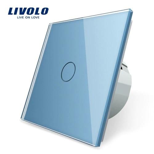 Сенсорный выключатель Livolo, цвет голубой, стекло (VL-C701-19)