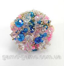 Резинка для волос с хрустальными бусинами розово-голубая