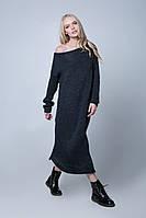 Вязаное платье в пол PW404 (46-48, темно-серый)