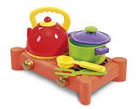 Детский игровой Набор посуды с газовой плитой 0415 Юника