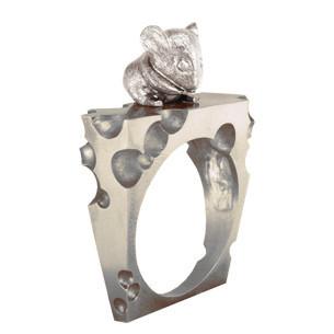 Кольцо серебряное Мышь и Сыр