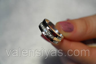 Кольцо из серебра с вставками золота и фианитами, фото 2