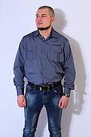 Рубашка мужская темно - синяя 2916, фото 1